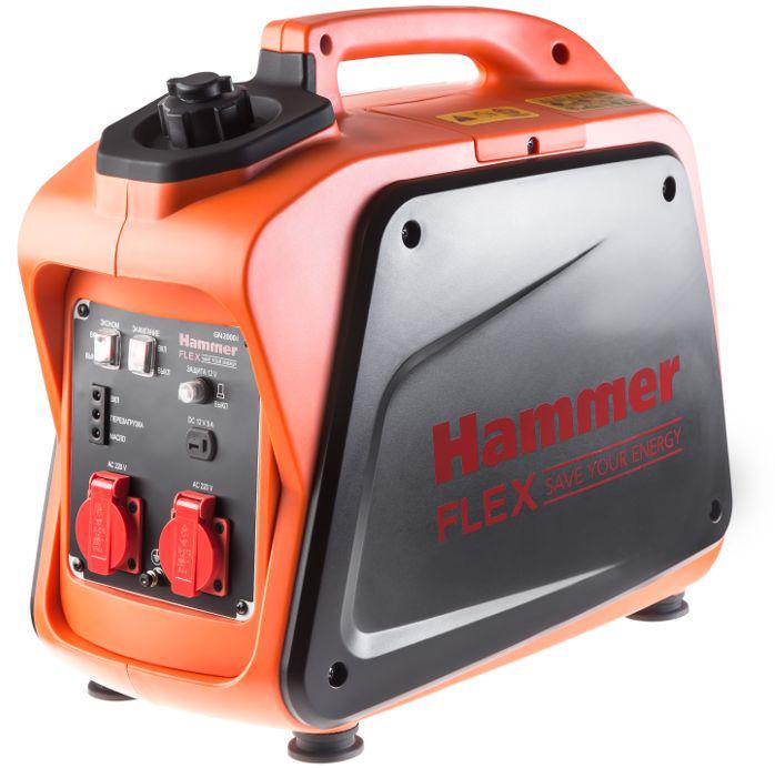 """Hammer """"Flex GN2000i"""" – компактная инверторная электростанция. Пригодится в  качестве резервного источника питания на даче, пикнике или на стройплощадке.  Полная мощность – 2000 ВА. Рабочий объем двигателя – 100 см. Совместим с  маслами СD или SAE10W30, 15W40. Активная мощность – 1700 Вт. Хватит на организацию освещения и запитывание  однофазных инструментов и приборов – дрелей, шлифмашинок, плиток. Бак для горючего – 4,1 л. Достаточно для 3,8 ч беспрерывной работы. Две розетки 220 В и выход на клеммы 12 В для зарядки автомобильных  аккумуляторов. Благодаря инверторной технологии, выходной ток чистый и без сильных  перепадов. Можно подключить ноутбук или смартфон. В Экономном режиме генератор вырабатывает ровно столько электричества,  сколько нужно подключенному оборудованию. Это снижает расход топлива и  уровень шума. Отключите Экономный режим при подключении инструментов с  высоким пусковым током (компрессоры, насосы и т.п.). Генератор помещается в багажник, его удобно брать с собой на природу.  Размеры генератора: 52,5 х 28 х 46 см. Вполне комфортно носить в одиночку. Вес нетто – 18,5 кг. Широкая ручка для переноски. Генератор переносить не сложнее, чем чемодан.  Простая индикация режима работы – включение, перезагрузка и масло. Предохранители выключат генератор при повышении напряжения. Двигатель не  пострадает от перегрева. Прорезиненные ножки снижают вибрацию и повышают устойчивость. Генератор  не «скачет» в процессе работы."""