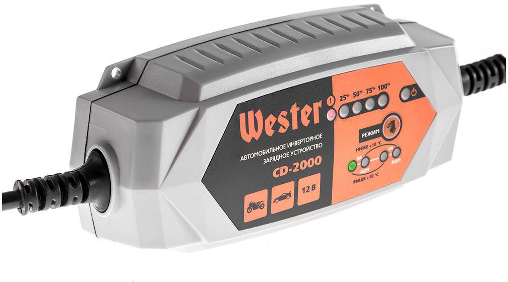 Зарядное устройство Wester CD-2000, для АКБ 12В, 2А, АКБ до 60 Ач 36v 1 3 ач