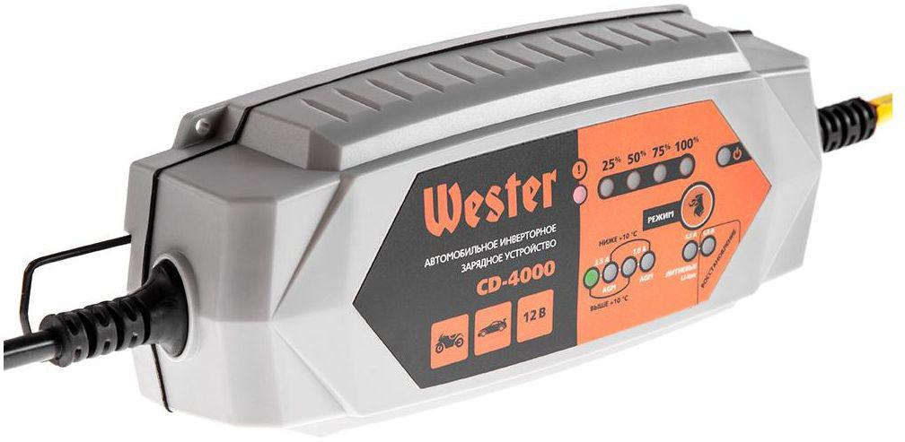 Зарядное устройство Wester CD-4000, для АКБ 12В, 3,5А, АКБ до 120Ач356924Зарядное инверторное устройство WESTER CD-4000 для АКБ 12В Данные зарядные устройства предназначены для зарядки 12 – вольтовых обслуживаемых и необслуживаемых свинцово-кислотных (Pb), гелевых (Gel) и кальциевых (Ca) аккумуляторных батарей (АКБ), свинцовых батарей технологии AGM а также литий-ионных АКБ (Li-ION, LITHIUM). Емкость заряжаемой АКБ 2 – 120Ач Мин. напряжение АКБ 3В Пыле- и влагозащищенность IP54