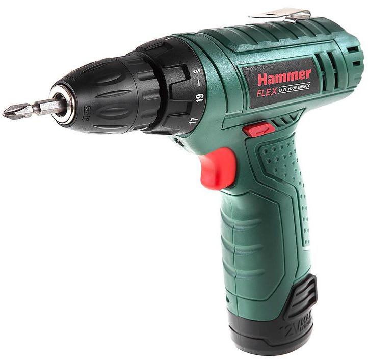 Дрель аккумуляторная Hammer Flex ACD12LE, 12 В аккумуляторная дрель шуруповерт hammer acd12le