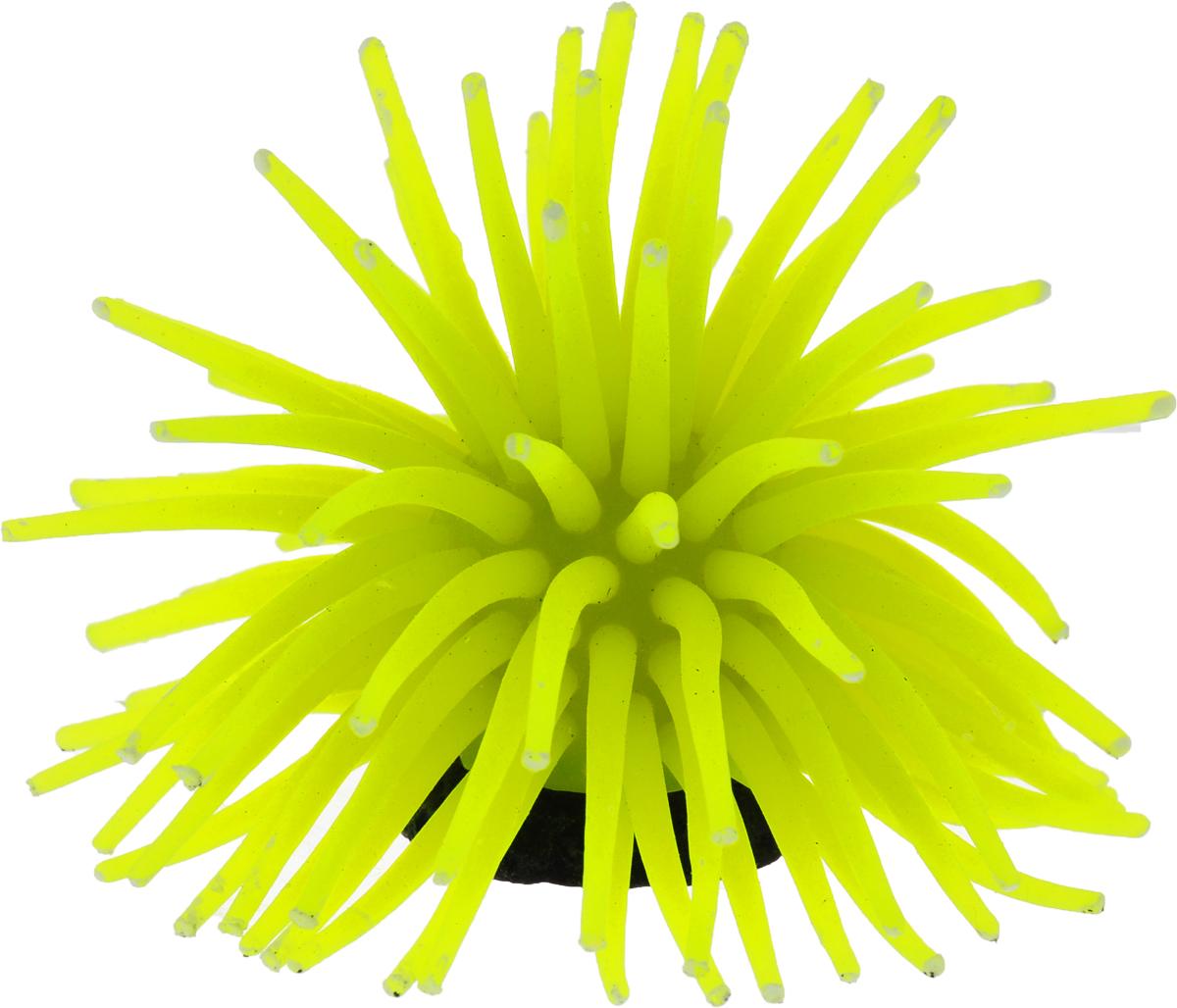 Коралл для аквариума Уют Разноцветные щупальца, силиконовый, цвет: желтый, 8 х 8 х 7 см распылитель воздуха для аквариума barbus белый корундовый 1 8 х 1 8 х 5 см
