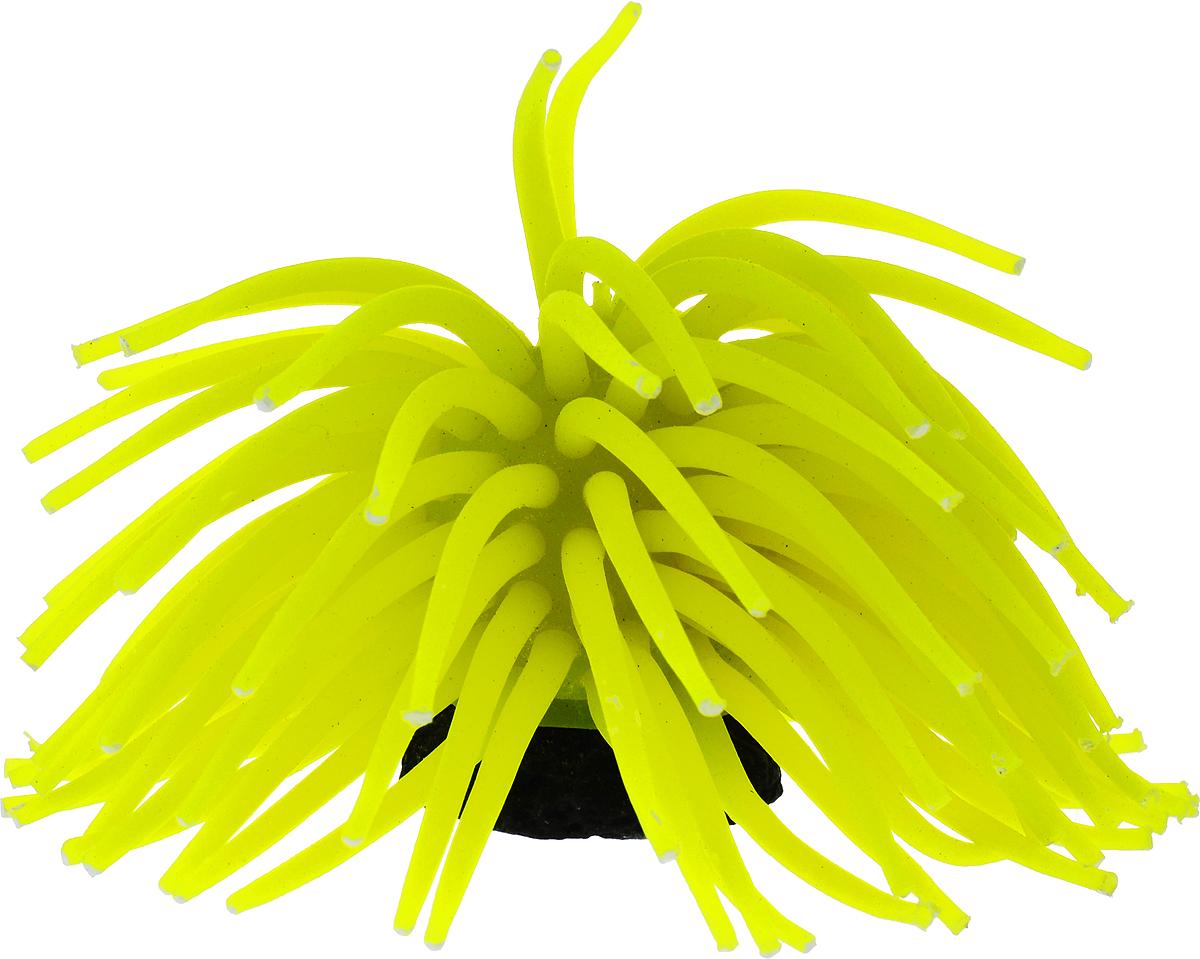 Коралл для аквариума Уют Разноцветные щупальца, силиконовый, цвет: желтый, высота 10 см уют
