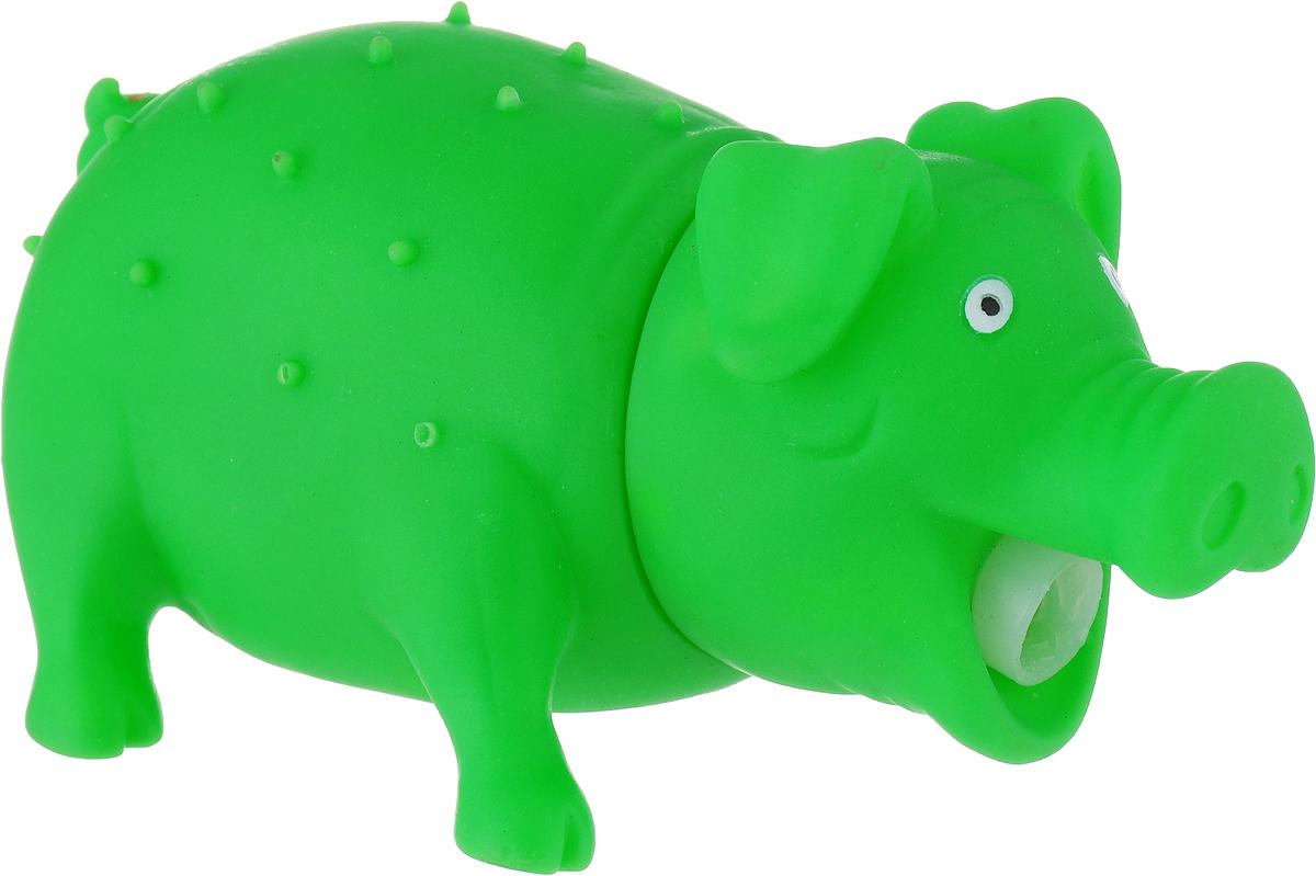 Игрушка для собак Уют Свинья, цвет: зеленый, 16 x 7 см уют