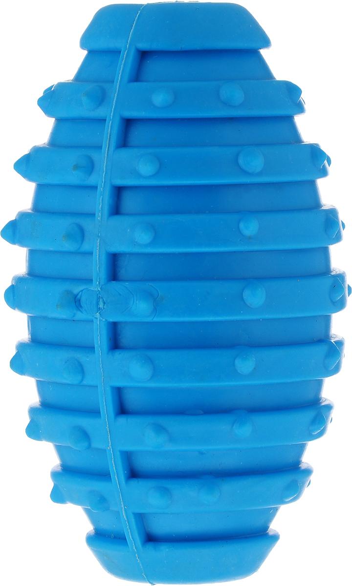 Игрушка для собак Уют Мяч для регби, цвет: голубой, 10 см форма для регби autonomous