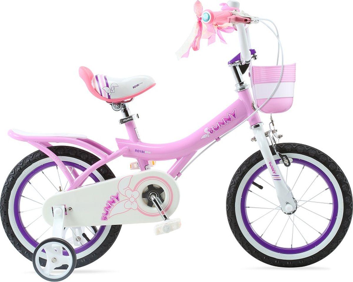 Велосипед детский Royal Baby Bunny 14, цвет: розовыйRB14G-4 роз.Детский велосипед с приставными колесами. Стальная рама, надувные колеса, комплект задних приставных колес, ручной тормоз, звонок, регулируемое по высоте седло, регулируемый по высоте руль, корзинка для вещей или игрушек. Насос, набор ключей, крылья в комплекте. Подходит для роста 105-120 см. Профиль обода - одностенный. Вид ниппеля: автомобильный (AV, Shrader, Шредер,). Тип тормозной системы: ручной ободной тормоз. Жесткая вилка