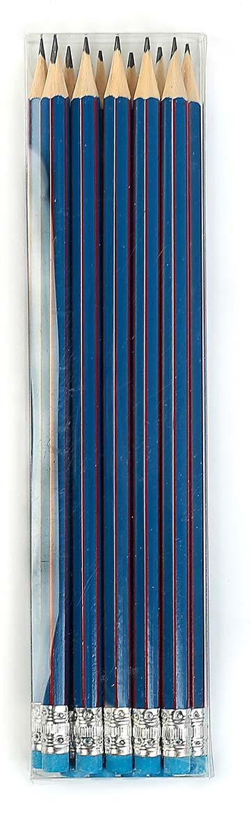 Calligrata Карандаш чернографитный Полоски с ластиком твердость HB цвет корпуса синий красный