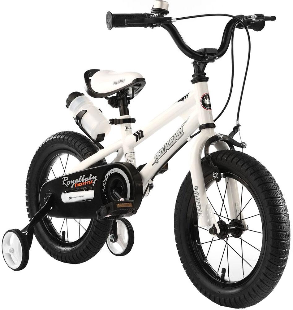 Велосипед детский Royal Baby Freestyle 16, цвет: белыйRB16B-6 БелыйДетский велосипед с приставными колесами. Стальная рама, надувные колеса, комплект задних приставных колес, ручной тормоз, звонок, удобное седло. Бутылочка для воды, флягодержатель, насос, комплект ключей и крылья в ПОДАРОК! Цвета: белый, черный. Подходит для роста 110-130 см. Профиль обода - одностенный. Вид ниппеля: автомобильный (AV, Shrader, Шредер,). Тип тормозной системы: ручной ободной тормоз. Жесткая вилка
