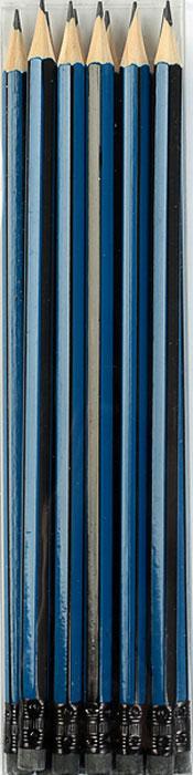 Calligrata Карандаш чернографитный Полоски с ластиком твердость HB цвет корпуса синий черный2864374Изделия данной категории необходимы любому человеку независимо от рода его деятельности. У нас представлен широкий ассортимент товаров для учеников, студентов, офисных сотрудников и руководителей, а также товары для творчества.