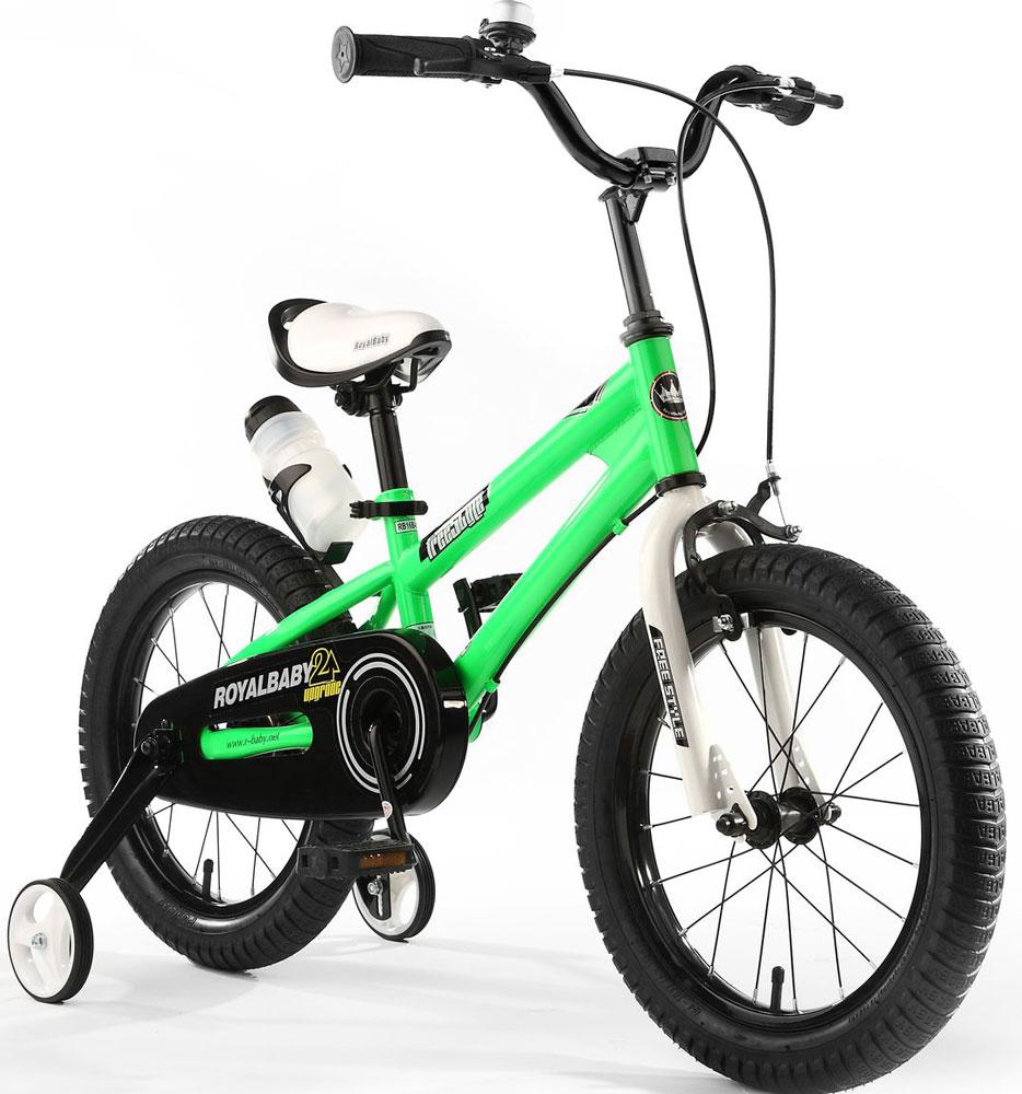 Велосипед детский Royal Baby Freestyle 16, цвет: зеленыйRB16B-6 ЗеленыйДетский велосипед с приставными колесами. Стальная рама, надувные колеса, комплект задних приставных колес, ручной тормоз, звонок, удобное седло. Бутылочка для воды, флягодержатель, насос, комплект ключей и крылья в ПОДАРОК! Цвета: красный, синий, зеленый. Подходит для роста 110-130 см. Профиль обода - одностенный. Вид ниппеля: автомобильный (AV, Shrader, Шредер,). Тип тормозной системы: ручной ободной тормоз. Жесткая вилка