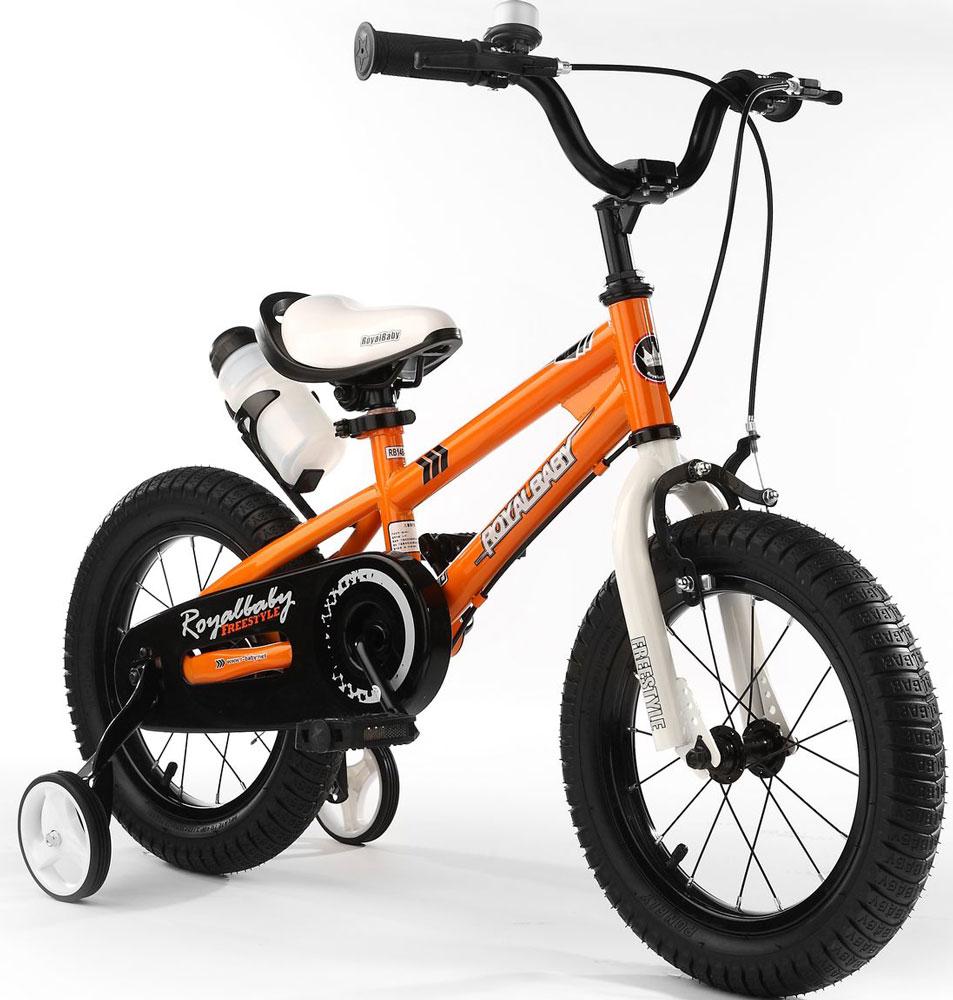 Велосипед детский Royal Baby Freestyle 16, цвет: оранжевыйRB16B-6 ОранжевыйДетский велосипед с приставными колесами. Стальная рама, надувные колеса, комплект задних приставных колес, ручной тормоз, звонок, удобное седло. Бутылочка для воды, флягодержатель, насос, комплект ключей и крылья в ПОДАРОК! Цвета: красный, синий, зеленый. Подходит для роста 110-130 см. Профиль обода - одностенный. Вид ниппеля: автомобильный (AV, Shrader, Шредер,). Тип тормозной системы: ручной ободной тормоз. Жесткая вилка