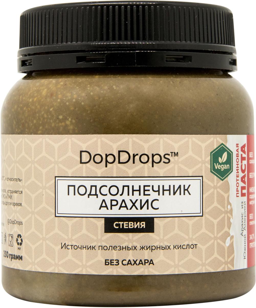 """Паста протеиновая вегетарианская DopDrops """"Подсолнечник. Арахис"""", стевия, 250 г,"""