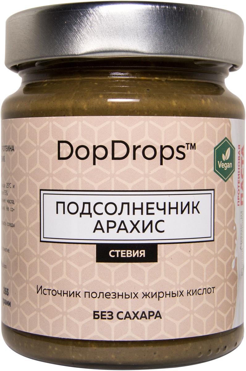 """Паста протеиновая вегетарианская DopDrops """"Подсолнечник. Арахис"""", стевия, 265 г,"""