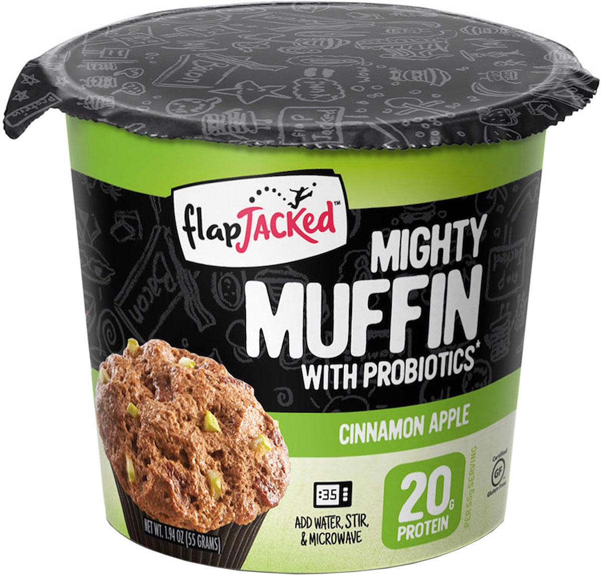 """Смесь протеиновая для изготовления маффинов FlapJacked """"Mighty Muffins Cinnamon Apple"""", на основе овсяной муки, со вкусом яблока и корицы, 55 г,"""