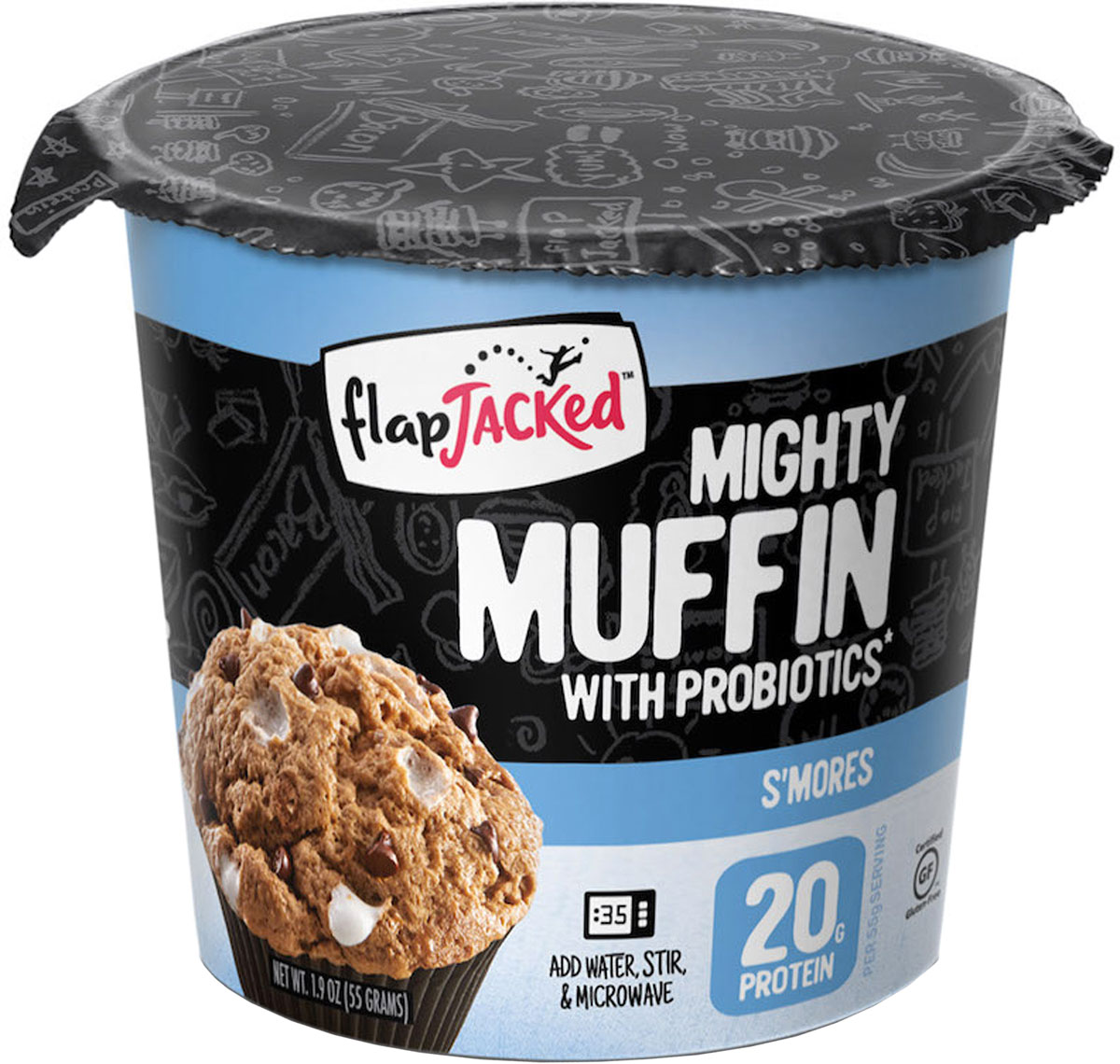 Смесь протеиновая для изготовления маффинов FlapJacked Mighty Muffins Smores, на основе овсяной муки, со вкусом зефира Смоурс, 55 г,FJ-MM1P-SMORГорячий, вкуснейший протеиновый маффин, готовящийся за секунды!FlapJacked Mighty Muffin - вкусный, не содержащий глютен, полный белка и богатый клетчаткой маффин. Создан для тех, кто ценит вкус, сбалансированное питание и удобство приготовления. Вы будете наслаждаться потрясающим вкусом каждого кусочка и оцените целых 20 грамм белка и всего 220 калорий в порции. Для еще более впечатляющи результатов в состав добавлены пробиотики GanedenBC30, чтобы помочь вам поддерживать здоровье иммунной системы, ведь это неотъемлемая часть сбалансированной диеты и здорового образа жизни. Просто добавьте воды, поставьте в микроволновую печь на 50-60 секунд, и ваш вкусный маффин, который можно съесть на ходу, готов!Состав: овсяная мука без глютена, изолят сывороточного белка (изолят сывороточного белка, соевыи? лецитин), гороховыи? белок, молочный шоколад (сахар, молоко, какао-масло, тертое какао), соевый лецитин, чистая ваниль, капли зефира (сахар, кукурузная мука без ГМО, пальмовое масло, натурльный ароматизатор, диоксид титана), пахта, масло (масло, сливки, соль, сухая пахта), декстрин, натуральный ароматизатор, патока, какао порошок, пищевая сода, разрыхлитель (монокальций фосфат, бикарбонат натрия, кукурузный крахмал без ГМО), ксантановая камедь, морская соль, архат, пробиотик (обезжиренное сухое молоко, Bacillus coagulans GBI-30 6086).