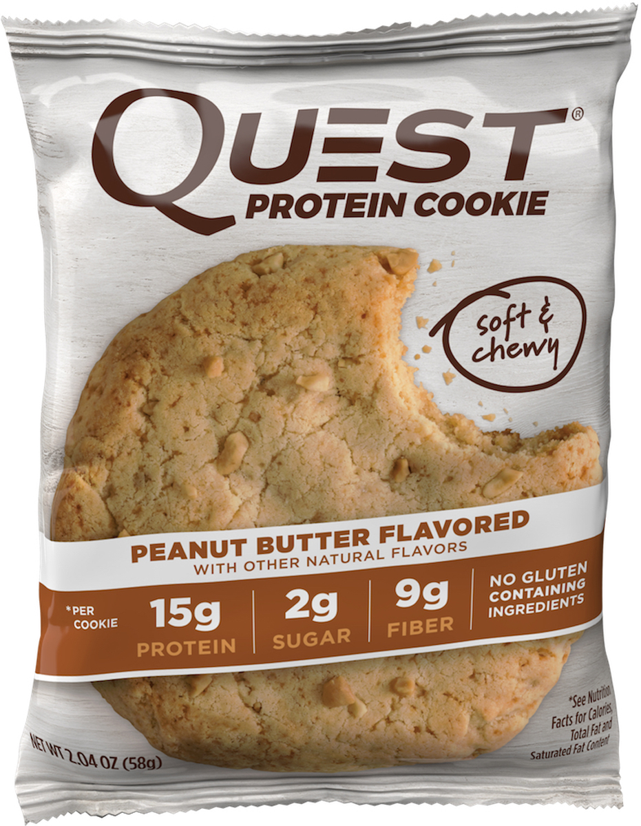 Порой вам просто необходимо съесть печенье.Мы в Quest Nutrition знаем, что порой наша слабость к некоторым продуктам - большая проблема. И именно поэтому мы испекли для вас Quest Protein Cookies! Потрясающе нежное, сладкое лакомство, которое можно всегда!Quest Protein Cookies - превосходное сочетание вкуса и идеальной пищевой ценности. 15 грамм белка, много клетчатки (Corn Fiber), минимум углеводов и натуральная сладость. Это печенье, которое можно есть без каких-либо угрызений совести.Четыре изумительных вкуса, которые никого не оставят равнодушным!ВЫ заслуживаете съесть печенье. ЭТО печенье! Состав: Белковая смесь (изолят молочного белка, изолят сывороточного белка), арахисовая паста, растворимые волокна кукурузы (пребиотическая клетчатка), пальмовое масло, сливочное масло, эритритол, вода, казеинат кальция, арахис, натуральные ароматизаторы. Содержит менее 2%: лецитин из подсолнечника, морская соль, пищевая сода, ксантовая камедь, стевия. Может содержать следы пшеницы, сои, яиц и орехов.