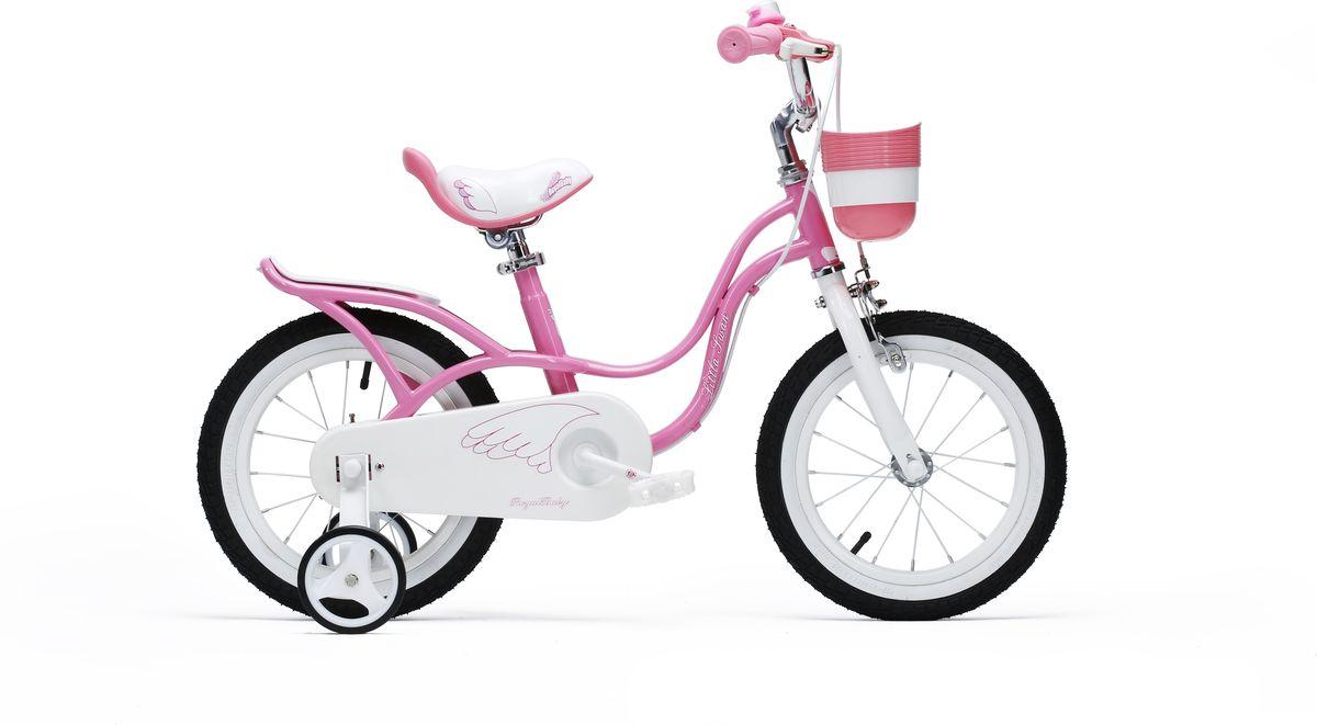 Велосипед детский Royal Baby Little Swan 14, с багажником, цвет: розовый велосипед royal baby buttons alloy 14 2018