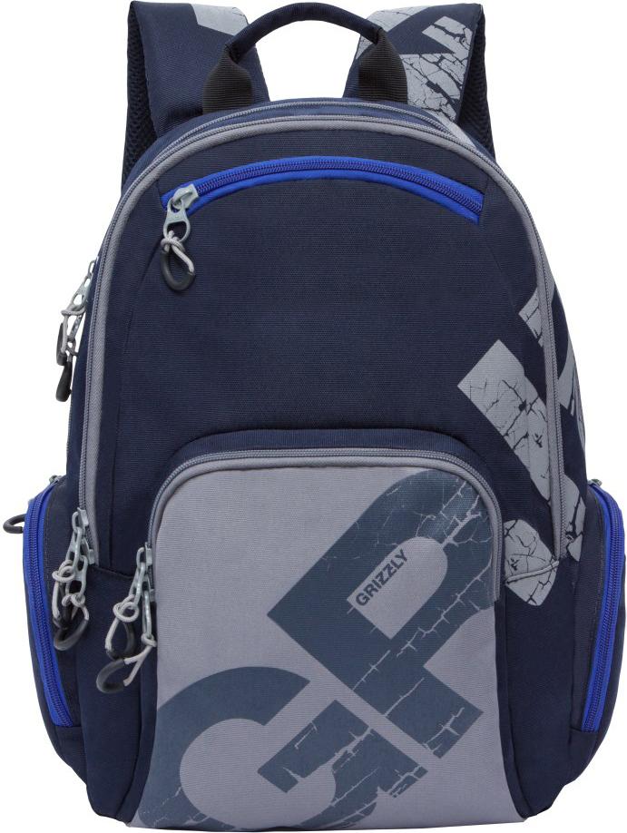 Рюкзак городской Grizzly, цвет: серый, синий. RU-815-1/3RU-815-1/3Рюкзак молодежный, два отделения, карман на молнии на передней стенке,объемный карман на молнии на передней стенке, объемные боковые карманына молнии, внутренний карман-пенал для карандашей, внутренний карман подгаджет и карман на молнии, жесткая анатомическая спинка, дополнительнаяручка-петля, укрепленные лямки.
