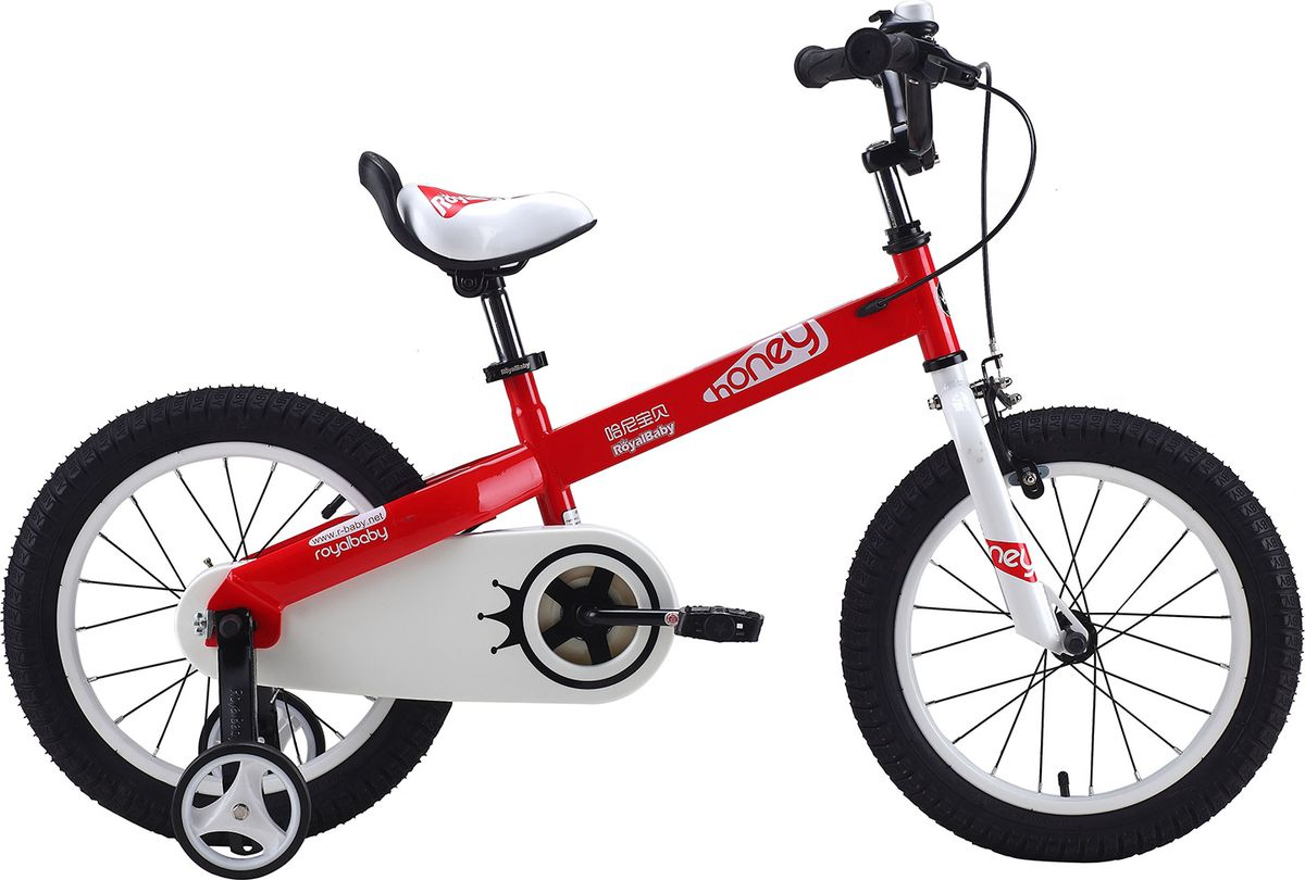 Велосипед детский Royal Baby Honey Steel 16, цвет: красныйRB16-15 HONEY КрасныйДетский велосипед с приставными колесами. Стальная рама, надувные колеса с крашенными ободами, комплект задних приставных колес, ручной тормоз, звонок, удобное регулируемое седло. Насос, комплект ключей, крылья в ПОДАРОК! Подходит для роста 110-130 см. Профиль обода - одностенный. Вид ниппеля: автомобильный (AV, Shrader, Шредер,). Тип тормозной системы: ручной ободной тормоз. Жесткая вилка