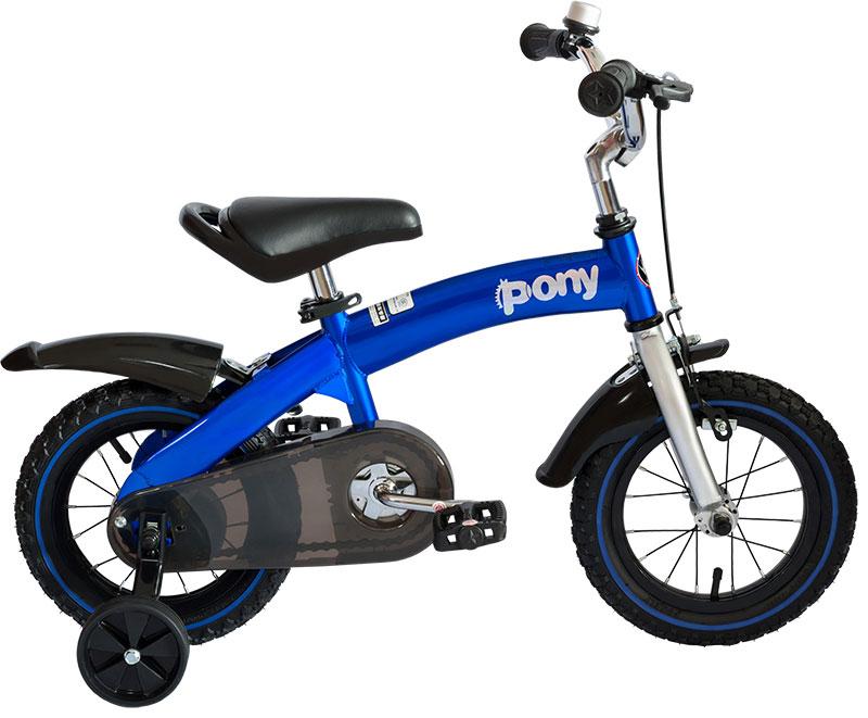 Велосипед детский Royal Baby Pony (2 в 1) 12, цвет: синийRB12B-4 СинийДетский велосипед с приставными колесами. Стальная рама, надувные колеса, комплект задних приставных колес, ручной тормоз, звонок, регулируемое по высоте седло, регулируемый по высоте руль. В комплекте с велосипедом идет насос, набор ключей и крылья. Цвет: голубой, фиолетовый. Подходит для роста 95-110 см. Профиль обода - одностенный. Вид ниппеля: автомобильный (AV, Shrader, Шредер,). Тип тормозной системы: ручной ободной тормоз. Жесткая вилка