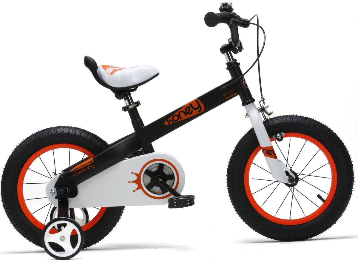 Велосипед детский Royal Baby Honey Steel 16, цвет: черныйRB16-15 HONEY ЧерныйДетский велосипед с приставными колесами. Стальная рама, надувные колеса с крашенными ободами, комплект задних приставных колес, ручной тормоз, звонок, удобное регулируемое седло. Насос, комплект ключей, крылья в ПОДАРОК! Подходит для роста 110-130 см. Профиль обода - одностенный. Вид ниппеля: автомобильный (AV, Shrader, Шредер,). Тип тормозной системы: ручной ободной тормоз. Жесткая вилка
