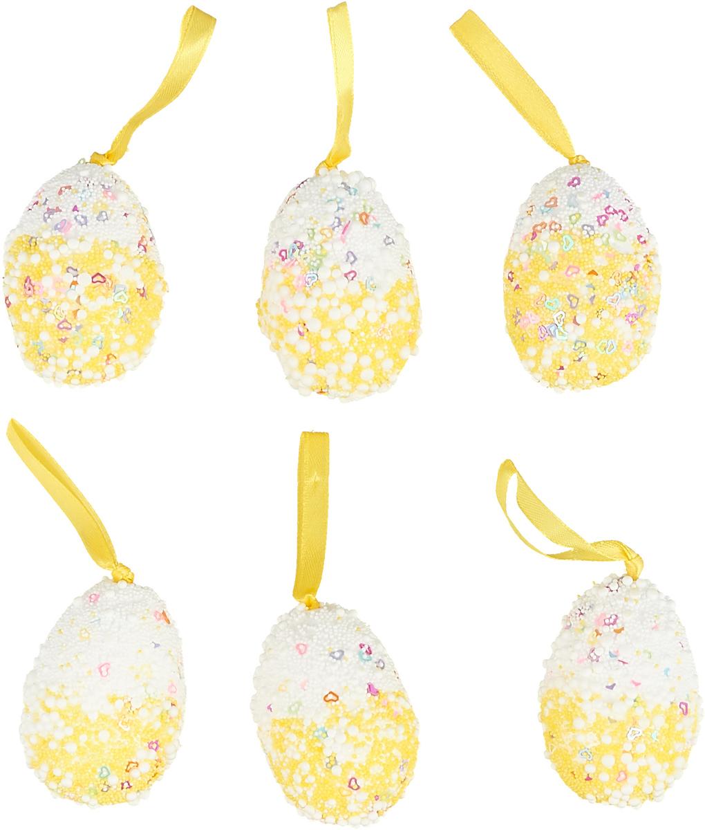 Набор пасхальных подвесных украшений Sima-land Яйцо. Посыпка, цвет: желтый, 4 х 4 х 6 см, 6 шт картина объемная sima land детишки на лавочке 30 х 40 см