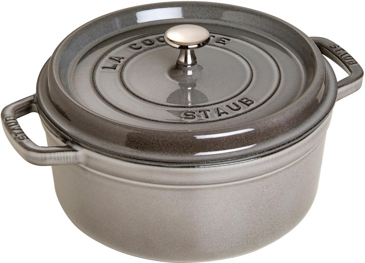 Кокот Staub, круглый, цвет: серый графит, 5,2 л1102618Вся продукция Staub предназначена для сохранения вкусовых и питательных качеств продукта, она подходит как искусным поварам, так и любознательным дебютантам, готовым познать удовольствие от вкусной и здоровой пищи. Эмалированный чугун – это сплав обогащенного углем железа, покрытого эмалью, изготовленной на основе стекла. Это один из самых лучших материалов, который не только удерживает тепло, но и сохраняет холод. Каждое изделие имеет свои особенности и нюансы, поскольку отливается в индивидуальных формах из песка, которые разрушаются после каждого использования, эти неровности ни в коем случае нельзя воспринимать, как недостатки!Отличительные особенности Staub:• Декоративная латунная или никелевая ручка может использоваться в духовке до 200°С• Внешнее покрытие – 2 слоя эмали, чугун, внутреннее покрытие 2-слоя черной эмали • Пригодна для мытья в посудомоечной машине• Подходит для всех типов плит• Можно использовать в духовке, кроме посуды с деревянной ручкой Рекомендации по уходу за посудой:• Промойте Вашу посуду в теплой воде, дайте ей высохнуть. Смажьте внутреннюю поверхность кастрюли растительным маслом. Прогрейте ее в течение нескольких минут на медленном огне, а затем удалите остатки масла. Ваша посуда готова к использованию!• Кастрюля должна нагреваться постепенно ( так как эмалированный чугун можно использовать на индукционных варочных поверхностях, ВАЖНО при предварительным нагревании использовать треть мощности плиты в течении 5-7 минут).• Подберите величину конфорки соответствующей размеру дна Вашей посуды.• Используйте лопатки из силикона или дерева.• Не заливать горячую кастрюлю холодной водой.Объем, указаны до края кокота.