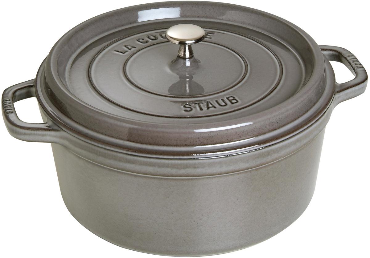 Кокот Staub, круглый, цвет: серый графит, 6,7 л1102818Вся продукция Staub предназначена для сохранения вкусовых и питательных качеств продукта, она подходит как искусным поварам, так и любознательным дебютантам, готовым познать удовольствие от вкусной и здоровой пищи. Эмалированный чугун – это сплав обогащенного углем железа, покрытого эмалью, изготовленной на основе стекла. Это один из самых лучших материалов, который не только удерживает тепло, но и сохраняет холод. Каждое изделие имеет свои особенности и нюансы, поскольку отливается в индивидуальных формах из песка, которые разрушаются после каждого использования, эти неровности ни в коем случае нельзя воспринимать, как недостатки!Отличительные особенности Staub:• Декоративная латунная или никелевая ручка может использоваться в духовке до 200°С• Внешнее покрытие – 2 слоя эмали, чугун, внутреннее покрытие 2-слоя черной эмали • Пригодна для мытья в посудомоечной машине• Подходит для всех типов плит• Можно использовать в духовке, кроме посуды с деревянной ручкой Рекомендации по уходу за посудой:• Промойте Вашу посуду в теплой воде, дайте ей высохнуть. Смажьте внутреннюю поверхность кастрюли растительным маслом. Прогрейте ее в течение нескольких минут на медленном огне, а затем удалите остатки масла. Ваша посуда готова к использованию!• Кастрюля должна нагреваться постепенно ( так как эмалированный чугун можно использовать на индукционных варочных поверхностях, ВАЖНО при предварительным нагревании использовать треть мощности плиты в течении 5-7 минут).• Подберите величину конфорки соответствующей размеру дна Вашей посуды.• Используйте лопатки из силикона или дерева.• Не заливать горячую кастрюлю холодной водой.Объем, указаны до края кокота.
