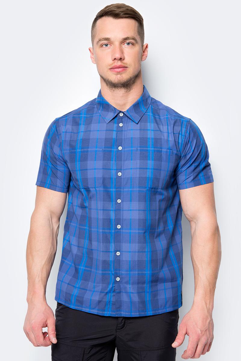 Рубашка мужская Icepeak, цвет: темно-синий. 957664578IV_381. Размер S (48)957664578IV_381Рубашка от Icepeak выполнена из хлопка и полиэстера. Модель с короткими рукавами и отложным воротником, застегивается на пуговицы.