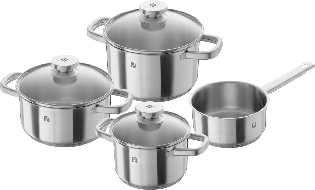 Набор кастрюль Zwilling Joy, цвет: стальной, 4 предмета64040-005Серия посуды Joy, благодаря современному и неподвластному времени дизайну, посуда легко найдет свое место на любой кухне. Изготовлен: из нержавеющей стали 18/10 и имеет 3х-слойное дно (нержавеющая сталь 18/10, алюминиевый диск, магнитная нержавеющая сталь 18/10) Sigma Classic с прочным алюминиевым диском оптимально проводит и сохраняет тепло.В набор входят: ковш - 1,5 л - диаметр 16 смкастрюля - 2 л - диаметр 16 смкастрюля - 2,9 л - диаметр 20 смкастрюля - 3,5 л - диаметр 20 смОтличительные особенности Zwilling Joy:Традиционный прямой дизайн с матово-гладкой отделкой.Плотно прилегающая крышкаМерная шкала для точного дозированияЗагнутый край для слива без брызгПодходит для всех типов плитПригодна для мытья в посудомоечной машинеУход: Мыть сразу после использования жидким моющим средством без применения абразивных веществ.Внимание!!! Не нагревать пустую посуду. Добавлять соль только в кипящую воду. Не заливайте горячую кастрюлю холодной водой. Объемы, указаны до края кастрюль. Ковш без крышки.