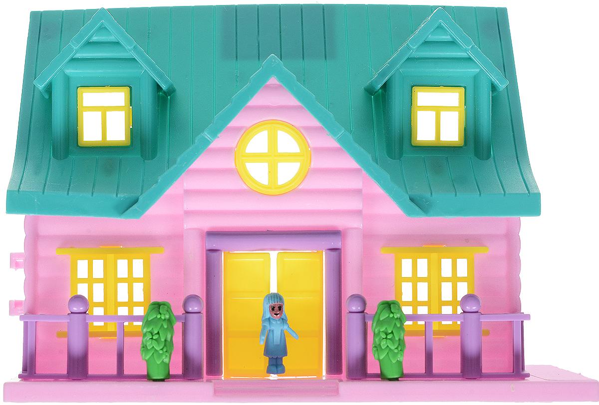 EstaBella Кукольный домик Солнечный городок улица Зеленая  4  лестницей цвет зеленый сиреневый