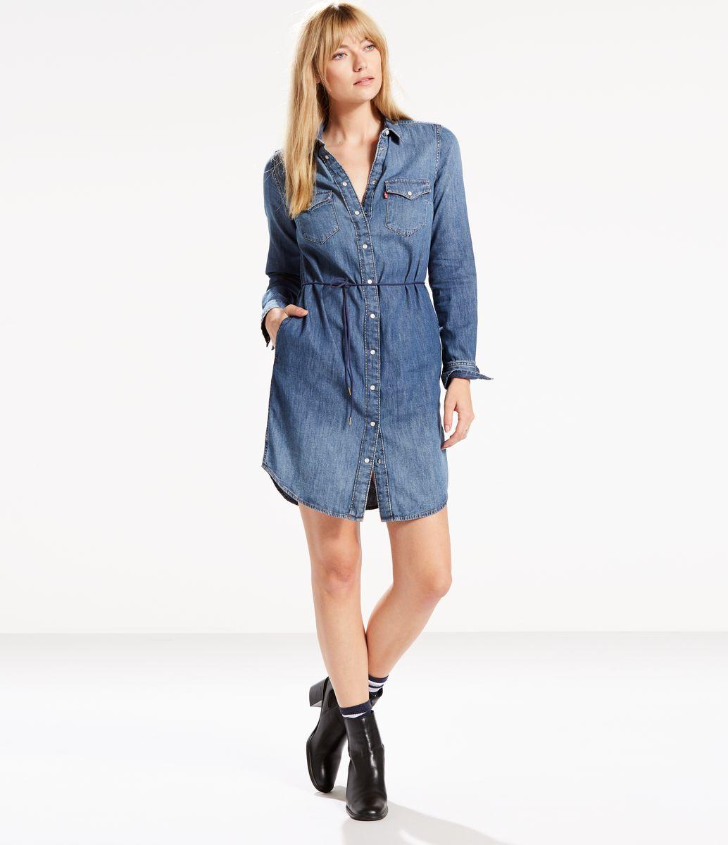 Платье Levi's®, цвет: синий. 1929200040. Размер XS (42) антарктический nanjiren с длинными рукавами рубашки мужские бизнес случайные профессиональные рубашки платье синий 39 метров gz