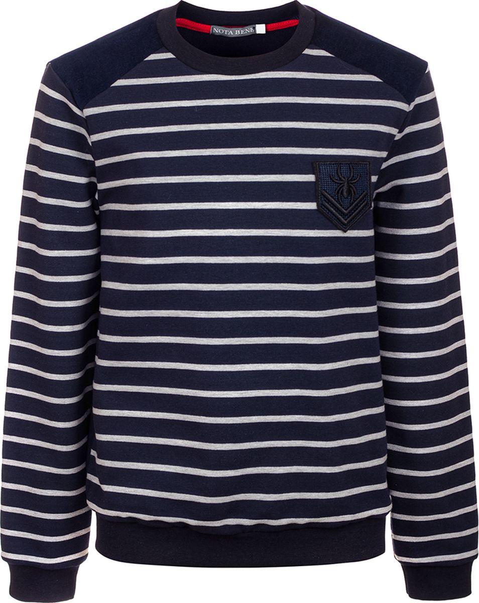 Свитшот для мальчика Nota Bene, цвет: темно-синий. 182140404_29. Размер 158