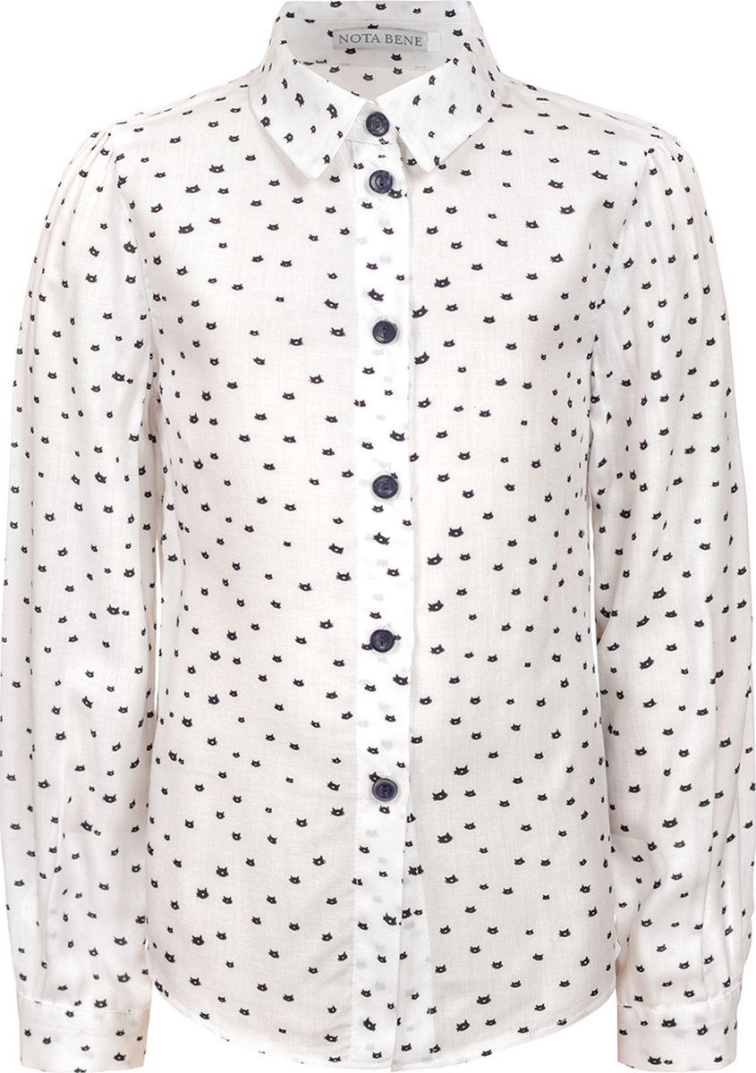 Блузка для девочки Nota Bene, цвет: белый. 182230810_01. Размер 140
