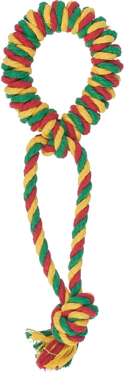 """Игрушка для собак Doglike """"Канатное кольцо"""", малое, цвет: красный, желтый, зеленый, длина 26 см, диаметр 10 см"""