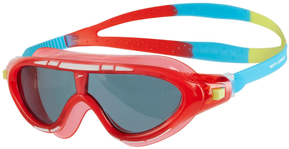Очки для плавания детские Speedo, цвет: красный, голубой, дымчатый8-01213B992Детская гибридная маска для тренировок с технологией Biofuse обеспечивает комфорт и отличный обзор. Широкие линзы с покрытием AntiFog не запотевают и снижают яркость бликов на воде. Боковые фиксаторы служат для быстрой и легкой подстройки.