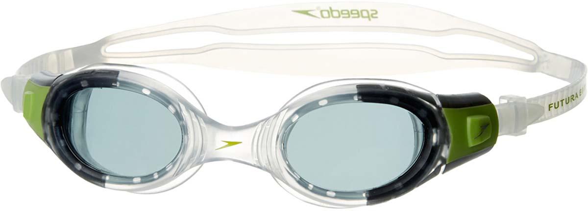 Очки для плавания детские Speedo, цвет: прозрачный, зеленый8-012339317Яркие детские очки от Speedo. Инновационная технология Biofuse, котораяпредставляет собой сочетание мягкого уплотнителя и гибкой рамки,обеспечивает удобство во время занятий плаванием. Прозрачные линзы,разработанные для условий низкой освещенности, обеспечивают защиту ичеткость без искажения цветов. Покрытие AntiFog препятствует запотеваниюлинз.