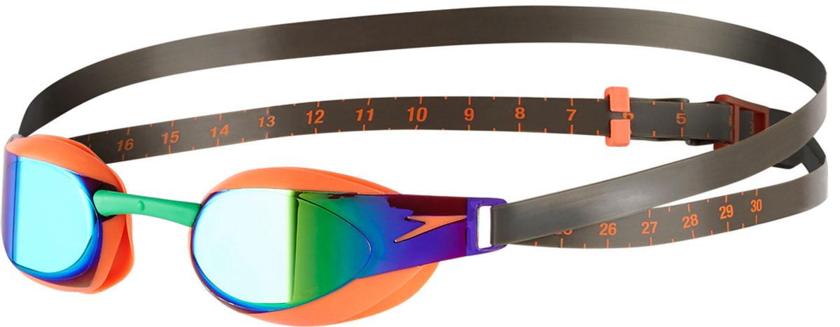 Очки для плавания Speedo, цвет: оранжевый, зеленый8-08210B984Узкие низкопрофильные очки для соревнований и активных спортивныхтренировок. Конструкция очков, созданная на базе инновационной технологииIQfit, гарантирует оптимальный комфорт и надежную фиксацию. Сверхточная3D модель полностью повторяет строение лица, обеспечивая плотноеприлегание и уменьшая следы вокруг глаз. Сменные носовые дужки позволятадаптировать очки под себя. Регулируемый ремешок помогаетоптимизировать посадку. Дизайн модели обеспечивает минимальноесопротивление воды и отличный периферийный обзор. Покрытие AntiFogпрепятствует запотеванию. Линзы с зеркальным покрытием снижают яркостьбликов в воде.