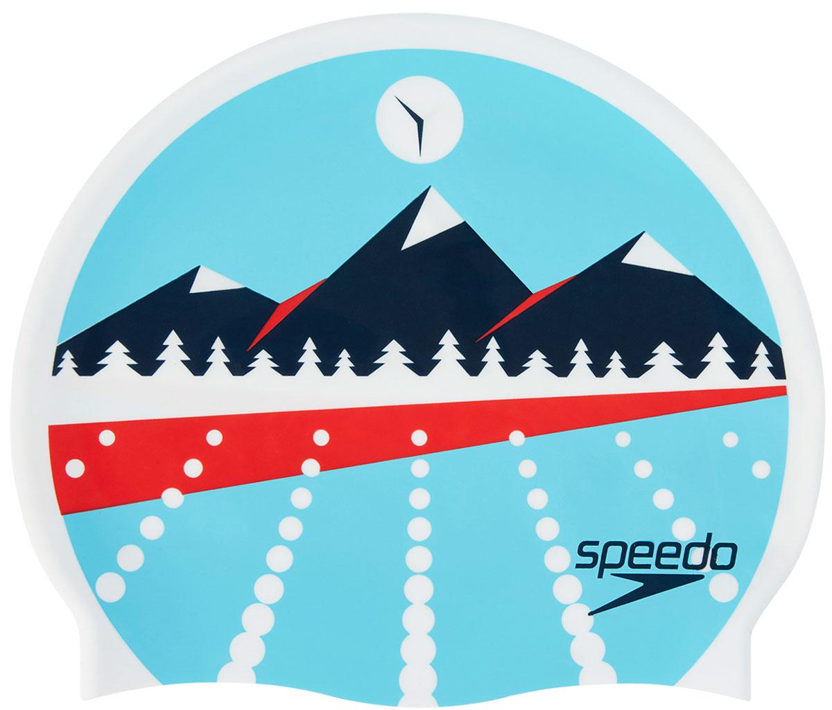 Шапочка для плавания Speedo, цвет: голубой, синий, красный