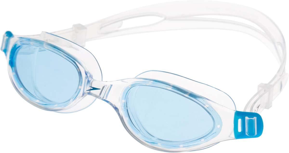 Очки для плавания Speedo, цвет: голубой, прозрачный8-090093537Классические очки с двойным ремешком для тренировок в бассейне. Линзы c противозапотевающим компонентом AntiFog обеспечивают отличный обзор и видимость.