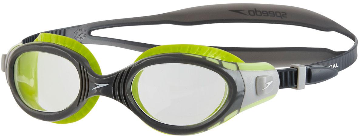 Очки для плавания Speedo Fut Biof Fseal Dual Gog Af, цвет: салатовый, серый8-11315B995Очки для плавания Speedo Fut Biof Fseal Dual Gog Af с технологией Biofuse гарантируют еще больший комфорт во время плавания. Новый супер мягкий и более широкий уплотнитель обеспечивает комфорт вокруг глаз, уменьшает давление и минимизирует появление следов вокруг глаз после использования. Линзы с широким обзором для отличной видимости, покрытие Antifog препятствует запотеванию линз. Удобный регулируемый ремешок.