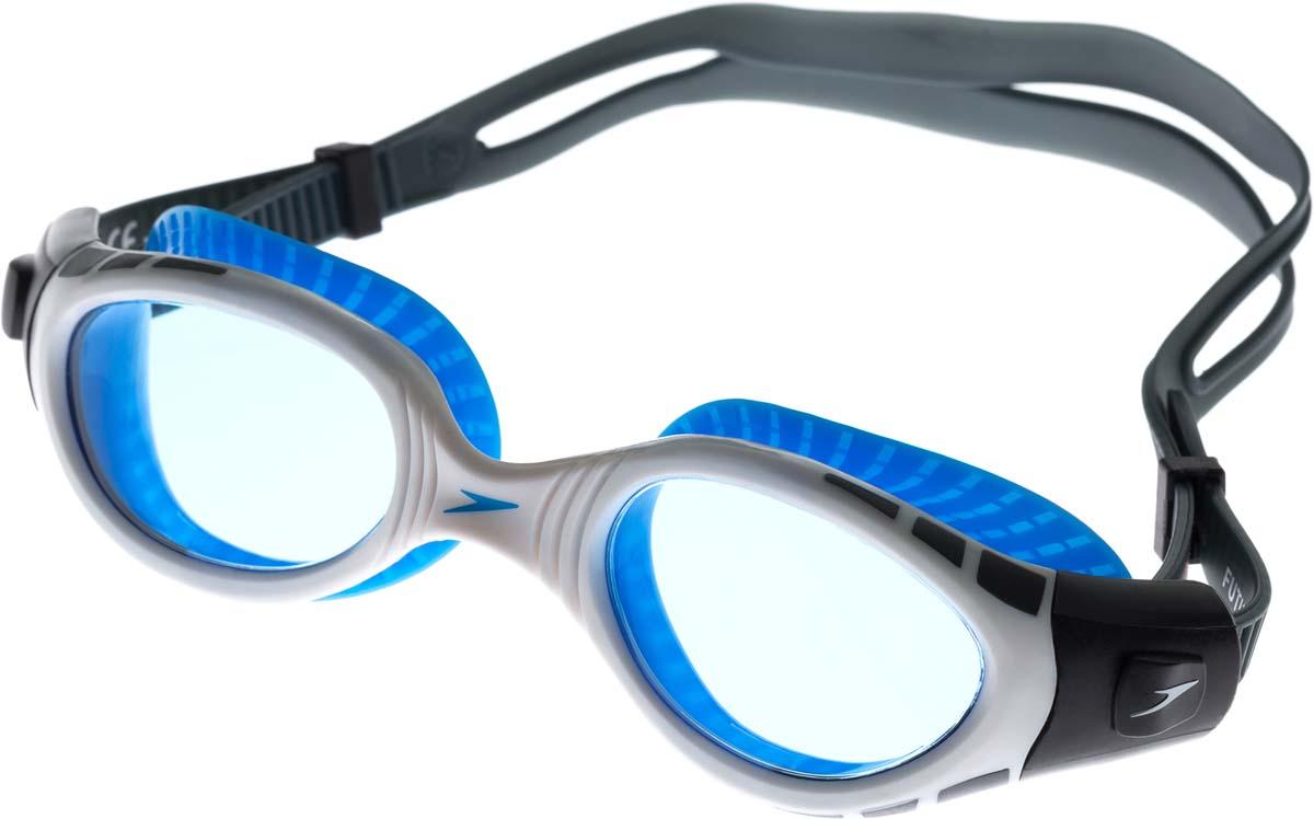 Очки для плавания Speedo, цвет: серый, белый, синий ласты для тренировок speedo biofuse fin красный черный 11 12