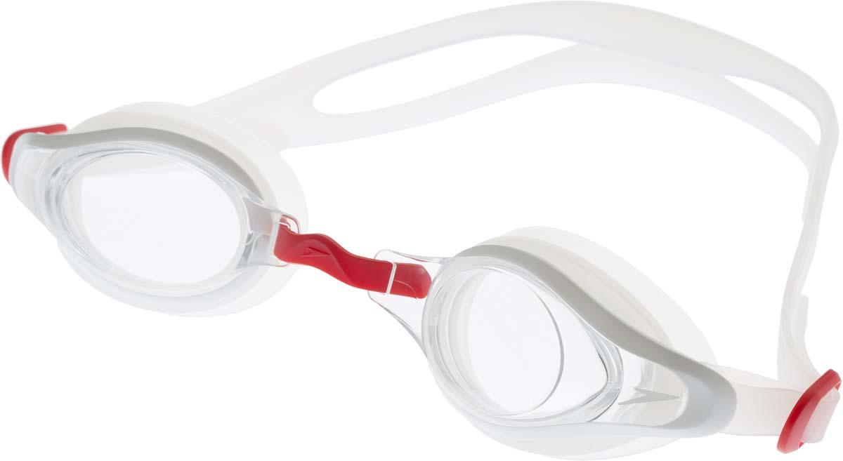 Очки для плавания Speedo, цвет: прозрачный, белый, синий8-11317B972Многофункциональные очки для тренировок и отдыха. Подстраиваемая носовая перегородка для разных типов лица. Двойной удобный регулируемый ремешок.