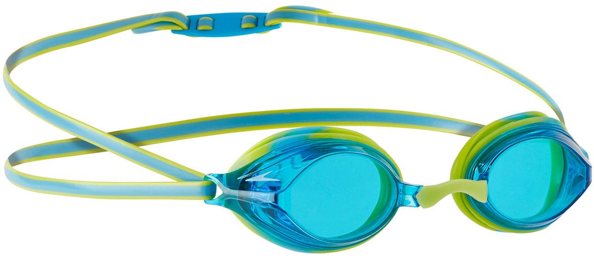 Очки для плавания детские Speedo Vengeance Gog Ju, цвет: салатовый, синий8-11323B994Удобные детские очкиSpeedo Vengeance Gog Ju предназначены для спортивного плавания. Сменные носовые дужки для разных типов лица. Двойной удобный регулируемый ремешок. Голубые линзы с покрытием Antifog обеспечивают отличную видимость.