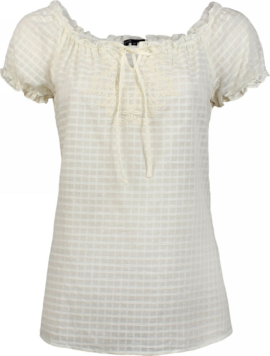 Блузка женская oodji Collection, цвет: кремовый. 21400275/18098/3000N. Размер 44 (50-170)