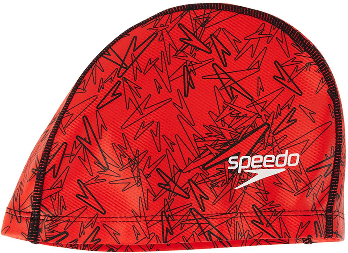 Шапочка для плавания Speedo, цвет: красный, черный ласты для тренировок speedo biofuse fin красный черный 11 12