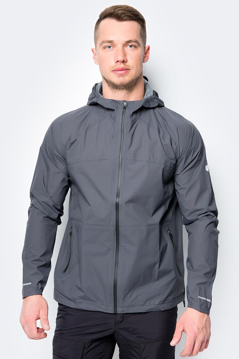 Куртка мужская Asics Waterproof Jacket, цвет: темно-серый. 154231-0779. Размер S (44) asics waterproof jacket