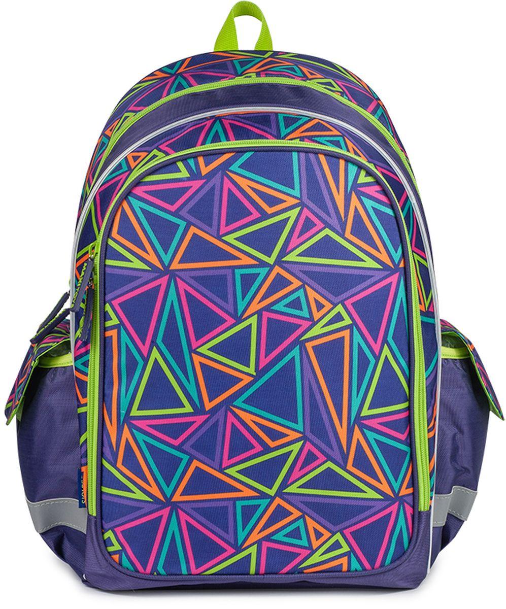 Maxitoys Рюкзак Разноцветные треугольникиMT-FU102017-5Школьный рюкзак Калейдоскоп - отличный выбор для девочек. Яркий и красивый рисунок из разноцветных треугольников, резиновые пуллеры обязательно понравятся вашему ребенку. Рюкзак состоит из одного основного вместительного отделения на молнии, большого внешнего кармана на молнии и двух боковых карманов, закрывающихся верхним клапаном с липучкой. Мягкий каркас и усиленная спинка позволят распределить нагрузку на позвоночник ребенка. Светоотражающие элементы на боковых карманах и лямках рюкзака обеспечат безопасность ребенка на дороге в темное время суток.Вместе с рюкзаком можно приобрести мешок для обуви Калейдоскоп MT-FU102017-10 с соответствующим рисунком.Размер рюкзака: 42 x 29 x 16 см. Вес: 0,48 кг. Состав: 100% полиэстер.
