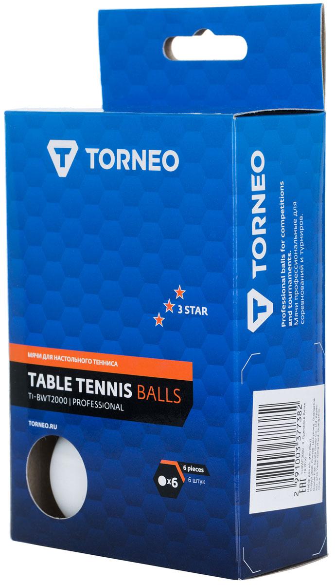 Набор мячей для настольного тенниса Torneo, 6 шт. TI-BWT2000 набор для настольного тенниса torneo 6 предметов ti bs1010
