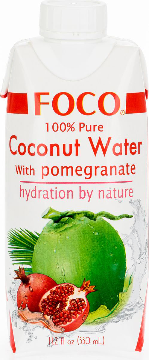Foco Кокосовая вода с соком граната, 330 мл king island кокосовая вода без сахара 1 л