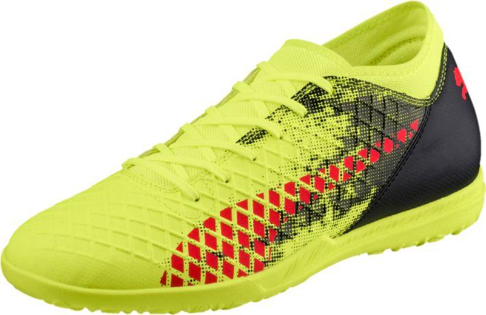 Бутсы мужские Puma Future 18.4 TT, цвет: желтый. 10433901. Размер 8,5 (41,5)10433901Футбольные бутсы FUTURE 18.4 повторяют стиль и силуэт флагманской модели FUTURE 18.1 и при этом отличаются весьма привлекательной ценой. Мягкий и прочный синтетический материал верха делает эту обувь легкой, удобной и долговечной.